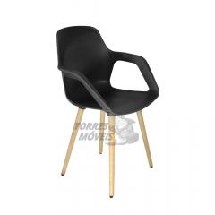 Cadeira Ella - pé madeira - COM BRAÇO