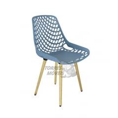 Cadeira Ella - Pé Madeira - encosto vazado