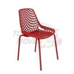 Cadeira Ella - pé tubular - encosto vazado