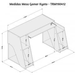 Mesa Gamer Kyoto Preto / Vermelho - TOR190412VM