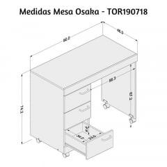 Mesa Osaka com 3 gavetas - Med. 0,90 x 0,46 - TOR190718