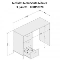 Mesa Santa Mônica 3 gavetas - Med. 1,10 x 0,44