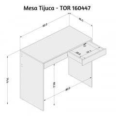 Mesa Tijuca - Med. 0,90 x 0,45 - TOR16047